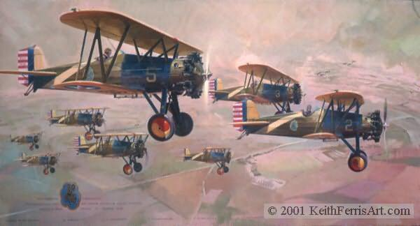 """Pursuit Section Instructors 1932"", Boeing P-12s Kelly Field, TX, Instructor C. I. Ferris, Father of  the artist, P-12  lithographic print"