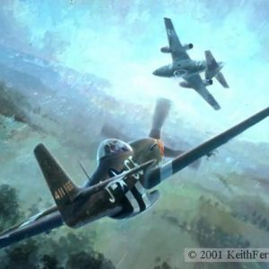 "Nowotny's Final Encounter, Lithographic print, 18 ½"" x 25"", L/E 850  Signed and numbered by the artist P-51D, Me 262 Flying his crippled Messerschmitt 262 and heading for home, ace Walter Nowotny is caught by Lt. Edward R. ""Buddy"" Hay, ""Nowotny's Final Encounter"" P-51 Pursues Me 262 P-51 pilot E.R. Buddy Hayden 357 Fighter Group Me 262 pilot Walter Nowotny Luftwaffe's 358 victory ace P-51 lithographic print"