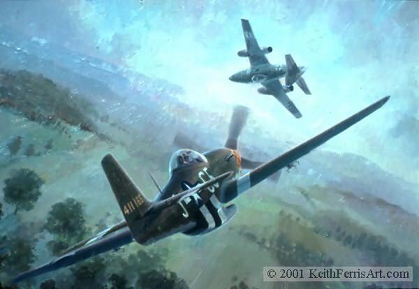 """Nowotny's Final Encounter, Lithographic print, 18 ½"""" x 25"""", L/E 850 Signed and numbered by the artist P-51D, Me 262 Flying his crippled Messerschmitt 262 and heading for home, ace Walter Nowotny is caught by Lt. Edward R. """"Buddy"""" Hay, """"Nowotny's Final Encounter"""" P-51 Pursues Me 262 P-51 pilot E.R. Buddy Hayden 357 Fighter Group Me 262 pilot Walter Nowotny Luftwaffe's 358 victory ace P-51 lithographic print"""