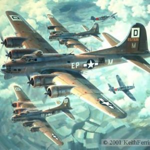 "Fortresses Engaged, Lithographic print, 20"" x 24"" open edition  Boeing B-17s, Me 109s Signed by the artist Two German Messerschmitt 109Gs attack head-on through a formation of B-17s from the 100th Bomb Group over Germany"