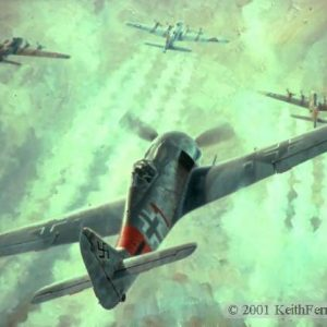 """Rauhbautz, Marie, Special Delivery and Bonnie B. Lithographic print 24"""" x 30"""" L/E 850 Signed and numbered by the artist Fw190, B-17s Lt. Klaus Bretschneider rolls his Fw-190 into position behind three B-17s of the 303rd Bomb Group. """"Raubautz, Marie, Special Delivery & Bonnie B"""" German Fw 190-A-8 303rd Bomb Group B-17s Reverse of Ferris Mural at Smithsonian Charles Mainwaring, Lewis Walker, Sidney Underdown pilots German Fw 190-A lithographic print"""