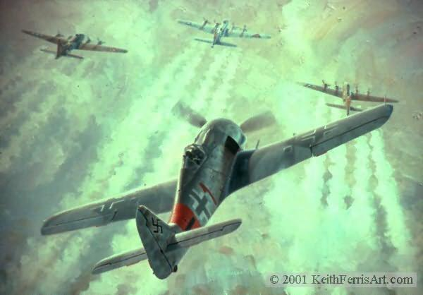 "Rauhbautz, Marie, Special Delivery and Bonnie B. Lithographic print 24"" x 30"" L/E 850  Signed and numbered by the artist Fw190, B-17s Lt. Klaus Bretschneider rolls his Fw-190 into position behind three B-17s of the 303rd Bomb Group.  ""Raubautz, Marie, Special Delivery & Bonnie B"" German Fw 190-A-8 303rd Bomb Group B-17s Reverse of Ferris Mural at Smithsonian Charles Mainwaring, Lewis Walker, Sidney Underdown pilots German Fw 190-A lithographic print"
