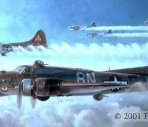 "Schweinfurt Again, Lithographic Print, 16"" x 27"" L/E 1000  Signed and numbered by the artist   Edition Sold Out,  Only Artist Proofs are available Boeing B-17 The B-17G ""Thunder Bird"" of the 303rd Bomb Group en route to Schweinfurt on its 80th mission."