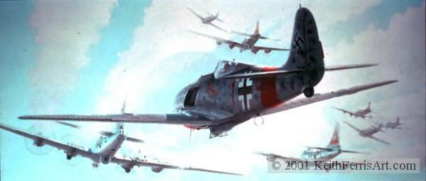 """A Test of Courage, Lithographic print, 18 ¾"""" x 35"""" L/E 850 Signed and numbered by the artist Edition Sold Out - Artist Proofs Available at $235.00 each Fw190, B-17s II./JG 300 Fw190A-8/R8 """"Sturmbock"""" duels point blank with gunners of the 303rd Bomb Group B-17s on 15 August 1944."""