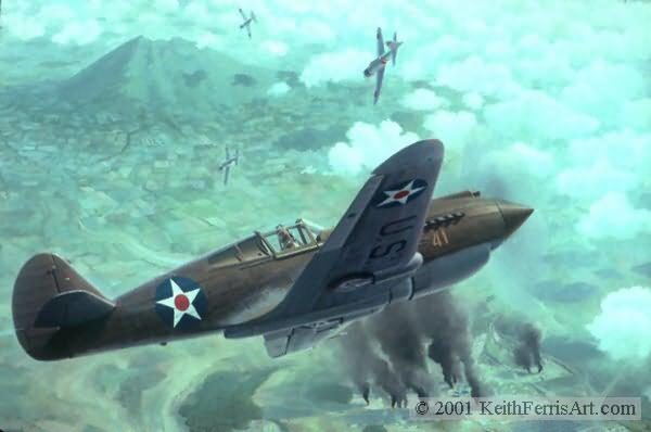 """Schweinfurt Again, Lithographic Print, 16"""" x 27"""" L/E 1000 Signed and numbered by the artist Edition Sold Out, Only Artist Proofs are available Boeing B-17 The B-17G """"Thunder Bird"""" of the 303rd Bomb Group en route to Schweinfurt on its 80th mission.""""Too Little Too Late"""",World War II,P-40 Tomahawk, Fighter of the 20th Squadron,Lt. Joe Moore, pilot, commander,Lt. Sam Grashio pilot,Clark Field Sec. 8, 1941, Philippines,Saburo Sakai's Japanese Zero Fighter,P-40 lithographic print"""