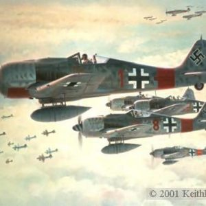 """Real Trouble. Lithographic Print, 20 1/2"""" x 28"""" L/E 1000 Signed and numbered by the artist Edition Sold Out - Artist Proofs Available at $245.00 Each Fw-190s Fw190A-8/R8 """"Sturmbock"""" bomber killers skirt guns of one bomb group as they stalk the lead group."""