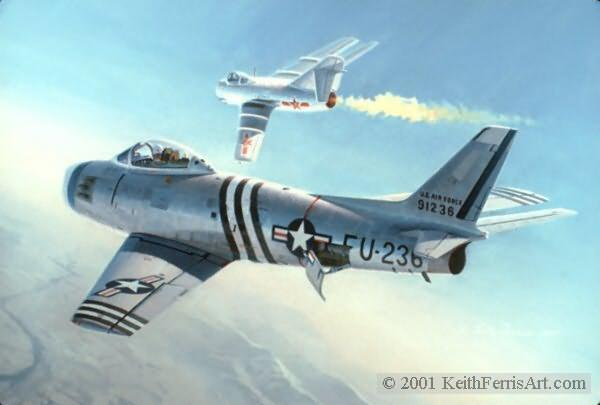 """First Swept Wing Encounter, Lithographic print, 18"""" x 24"""" open edition Signed by the artist Lithographic print out of stock 14 1/2"""" x 21"""" Giclee Digital Print available F-86A, MiG-15 Lt. Col. Bruce Hinton downs a Chinese Air Force MiG-15 in the world's first engagement between swept wing jet fighters."""