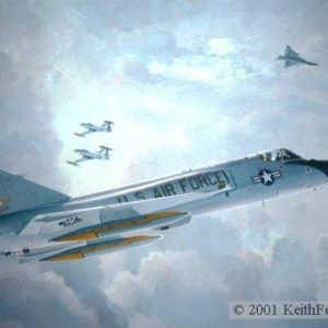 "Farewell Old Friends, Lithographic print, 20"" x 30"", L/E 450  Signed and numbered by the artist F-106 When the painting was created in 1986 this F-106 of the 49th Fighter Interceptor Squadron at Griffiss AFB, New York had been flying for 30 years"