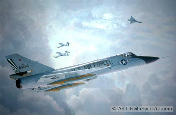 """""""Farewell Old Friends"""",USAF Convair F-106A Delta Dart fighter,USAF Lockheed T-33 T-Bird trainer,49th Fighter Interceptor Squadron,Griffiss AFB, Rome, NY,F-106 lithographic print, Farewell Old Friends, Lithographic print, 20"""" x 30"""", L/E 450 Signed and numbered by the artist F-106 When the painting was created in 1986 this F-106 of the 49th Fighter Interceptor Squadron at Griffiss AFB, New York had been flying for 30 years"""