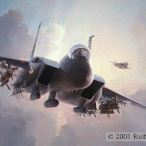 "Nowhere to Hide, Lithographic print, 20"" x 30"" L/E 450  Signed and numbered by the artist F-15E  The F-15E Strike Eagles, with their vast array of offensive weapons, are seen in their element, at dusk, enroute to an assigned heavily defended target ."