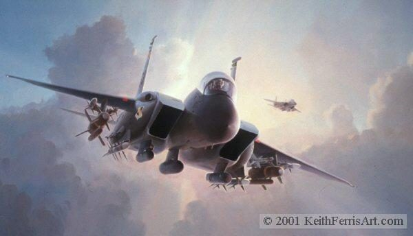 """Nowhere to Hide, Lithographic print, 20"""" x 30"""" L/E 450 Signed and numbered by the artist F-15E The F-15E Strike Eagles, with their vast array of offensive weapons, are seen in their element, at dusk, enroute to an assigned heavily defended target ."""