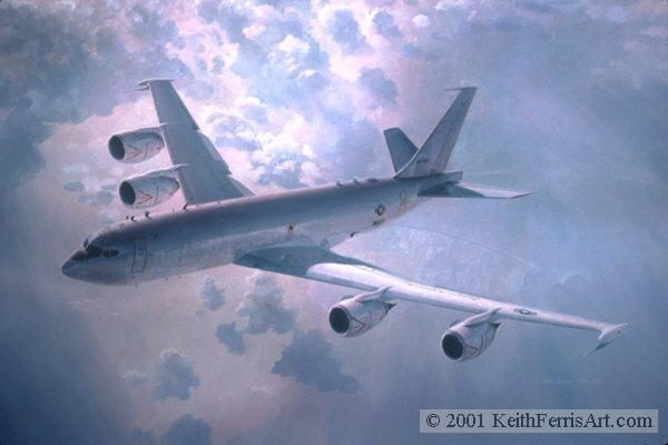 """The Vital Link, Lithographic print, 24"""" x 30"""" L/E 450 Signed and numbered by the artist The Boeing E-6 aircraft provides vital communication links between US command authority and undersea forces."""