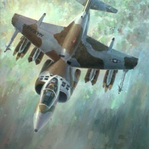 """Breathe Easier, Lithographic print, 21"""" x 25 ½"""" open edition Signed by the artist AV-8B. An inflight portrait of the fully loaded AV-8B Harrier demonstrating its weapons carrying capability."""