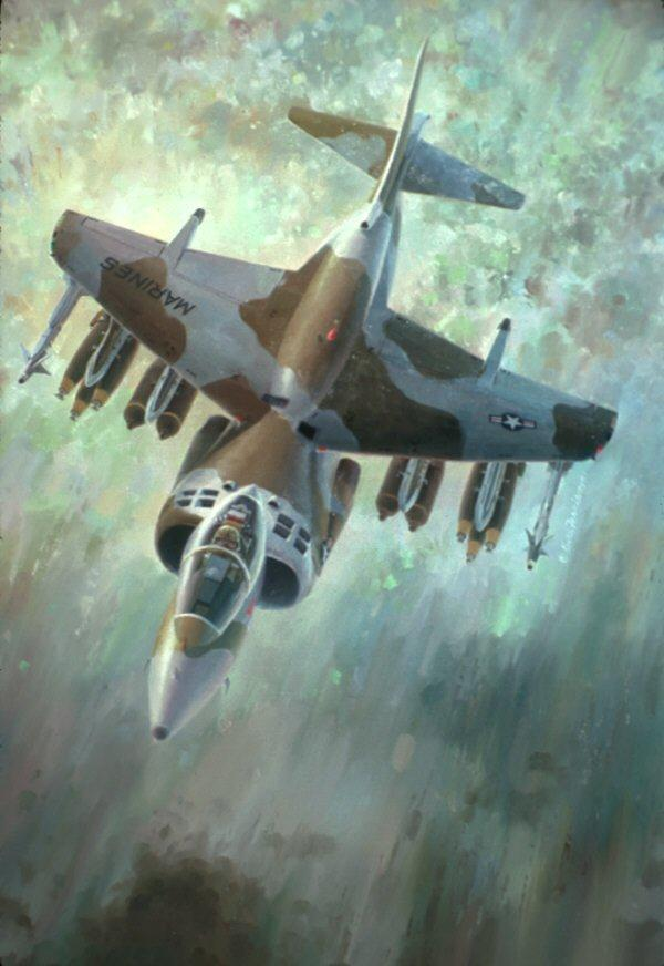 "Breathe Easier, Lithographic print, 21"" x 25 ½"" open edition  Signed by the artist AV-8B. An inflight portrait of the fully loaded AV-8B Harrier demonstrating its weapons carrying capability."