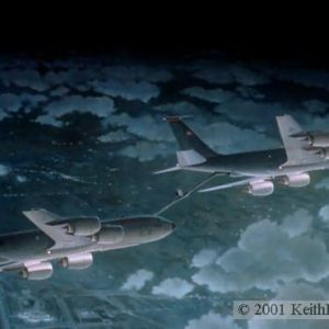 "Dancing In The Dark, Lithographic print, 20"" x 32"", L/E 750  Signed and numbered by the artist KC-135RT, KC-135R The Boeing KC-135RT tanker is being refueled by a KC-135R late at night over Kansas City International Airport"