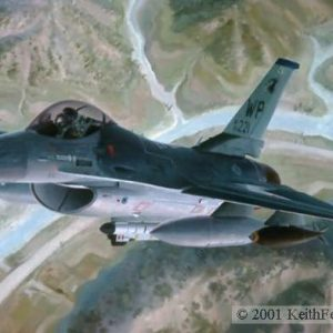 """Greetings From The Wolfpack, Lithographic print, 20 ½"""" x 30"""", L/E 450 Signed and numbered by the artist F-16C The Lockheed F-16C is shown on a training mission flying out of Kunsan AFB, Korea."""