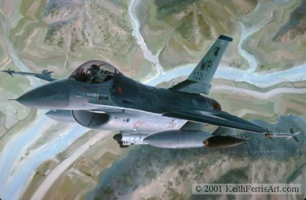 "Greetings From The Wolfpack, Lithographic print, 20 ½"" x 30"", L/E 450 Signed and numbered by the artist F-16C The Lockheed F-16C is shown on a training mission flying out of Kunsan AFB, Korea."
