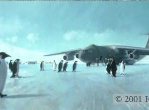 "Inspection Party, Lithographic print, 12"" x 24"", L/E 750  Signed and numbered by the artist C-141 A Military Airlift (now Air Mobility) Command C-141 on the ice at McMurdo Sound, Antarctica in 1988 is being inspected by penguins in their formal attire."