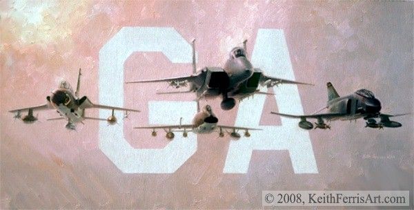 """The Glory Years, Lithographic print, 18"""" x 30"""", L/E 450 Signed and numbered by the artist F-105, F-100, F-15, F-4 The finest fighters served the Georgia Air National Guard's 116th Fighter Wing."""