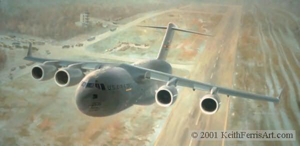 "Global Workhorse, Lithographic print, 18 1/2"" x 31"" Artist Proof only  Signed and numbered by the artist C-17 The McDonnell Douglass (Boeing) Globemaster III climbs away from the former MiG training base at Tuzla, Bosnia-Herzogovina in January 1996"