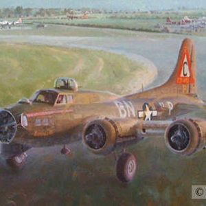 """Slow Timing Bonnie B, Lithographic Print, 16 ½"""" x 31 ½"""", L/E 450 Boeing B-17s 303rd Bomb Group B-17G Bonnie-B taxis out for engine replacement test flight"""