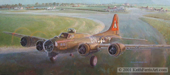 "Slow Timing Bonnie B, Lithographic Print, 16 ½"" x 31 ½"", L/E 450  Boeing B-17s 303rd Bomb Group B-17G Bonnie-B taxis out for engine replacement test flight"