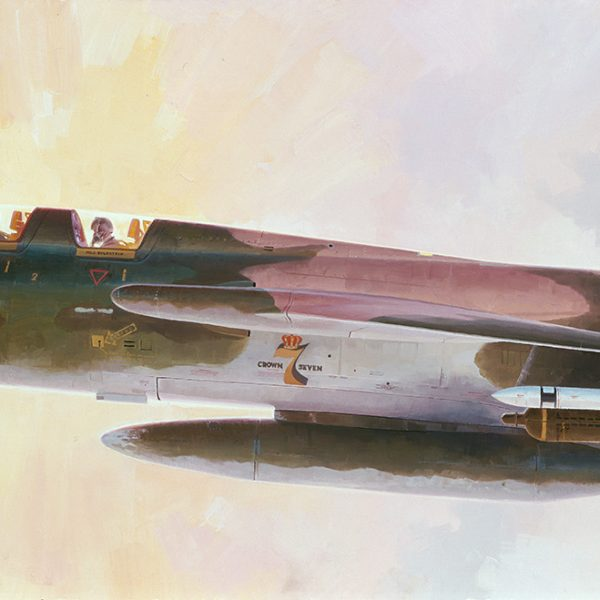 """Big Brass Ones"" Republic F-105 Thud 100th mission over North Vietnam Korat Thailand Air Base Major John Revak, pilot Major Stan Goldstein, GIB F-105 Lithographic print"
