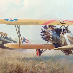 """""""Farmer's Nightmare"""" Boeing P-12 at Kelly Field TX C. I. Ferris Instructor 43rd School Squadron Strange Field Landing, 1932 43rd School Squadron Pratt & Whitney engine P-12 lithographic print"""