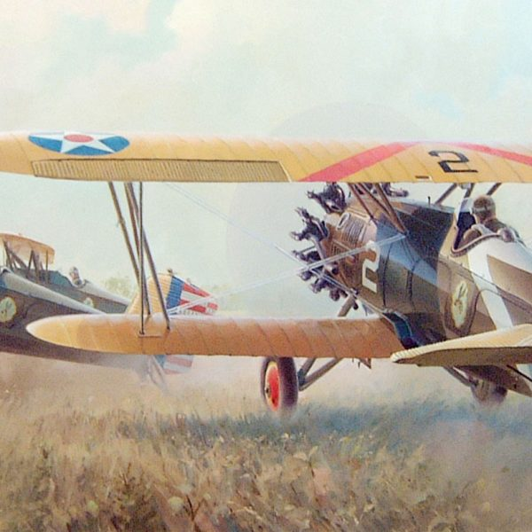 """Farmer's Nightmare"" Boeing P-12 at Kelly Field TX C. I. Ferris Instructor 43rd School Squadron Strange Field Landing, 1932 43rd School Squadron Pratt & Whitney engine P-12 lithographic print"