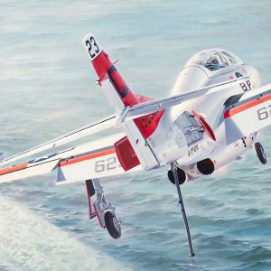 """First Trap -Original Painting by Keith Ferris ContactKeith Ferris Galleries Call 973.539.3363 for more information. 28"""" x 56"""" Oil on board T-2C The solo student is preparing to become a """"Tailhooker"""" by landing on the USS Lexington."""