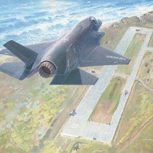 """High Tide at Red Beach"",US Marines F-35B STOVL,Camp Pendleton, CA,VMFA-121st MCAS Yuma, AZ, Expeditionary Landing Strip,F-35B lithographic print & poster"