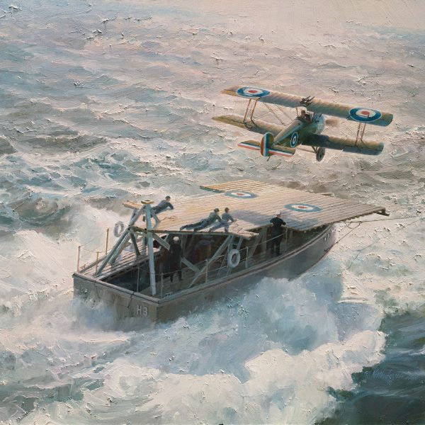 """Just Airborne at Sea"", World War I, British Sopwith 2F.1 Camel, Stuart D. Culley pilot, German Zeppelin L.53, HMS Redoubt, North Sea, Imperial War Museum, London, Sopwith lithographic print"