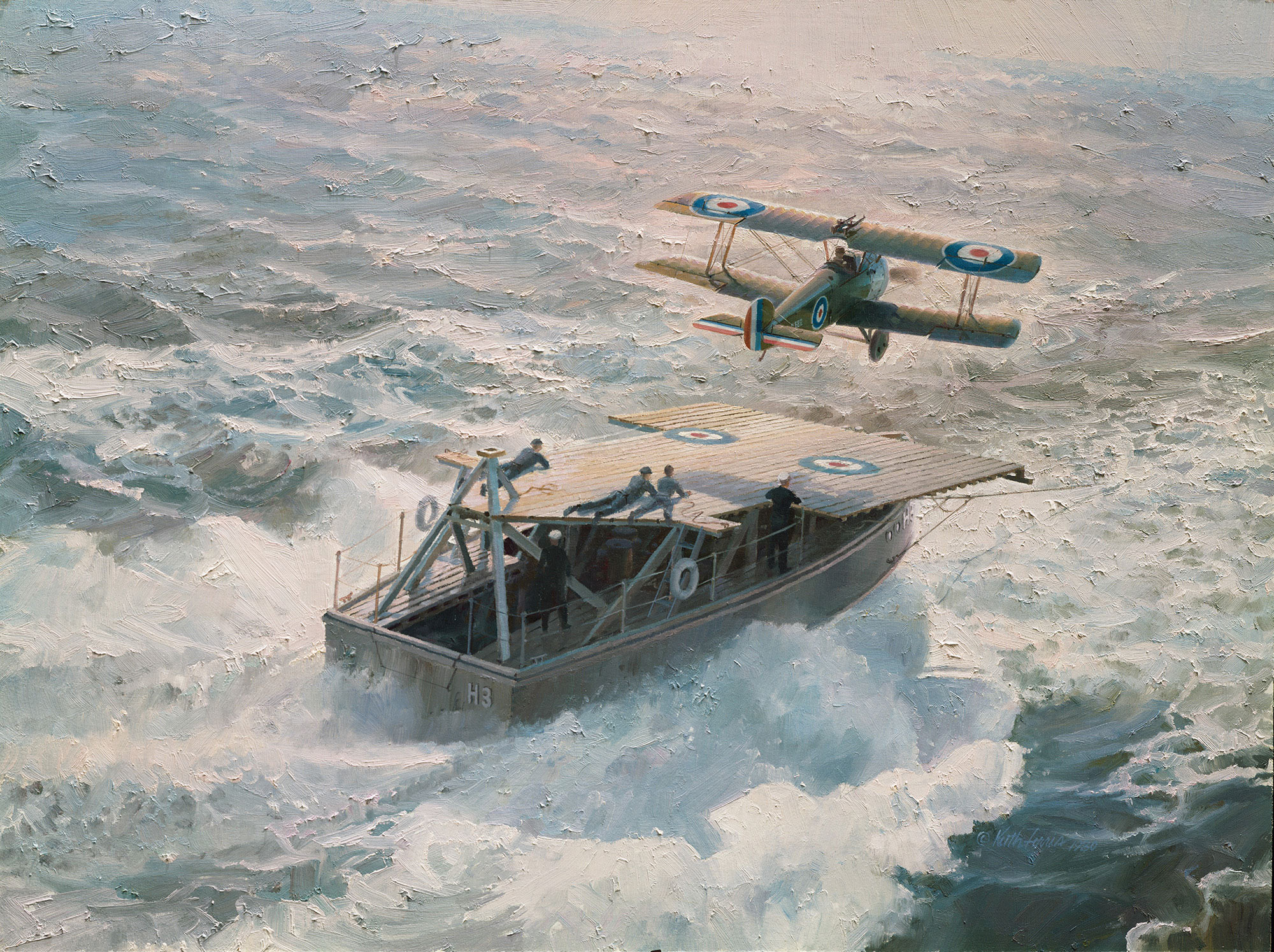 """""""Just Airborne at Sea"""",World War I,British Sopwith 2F.1 Camel,Stuart D. Culley pilot,German Zeppelin L.53,HMS Redoubt, North Sea,Imperial War Museum, London,Sopwith lithographic print"""