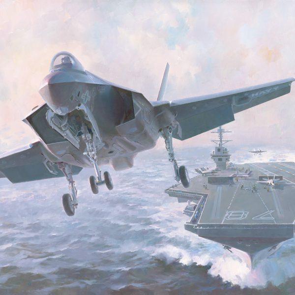 aviation art, lightning at sea
