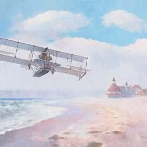 Navair Rising, Curtiss A-1 First Seaplane, Naval AVIATOR #1 Spuds Ellyson, Hotel Del Coronado, San Diego, CA. Naval Aviation 100th Anniversary, A-1 Giclee Print