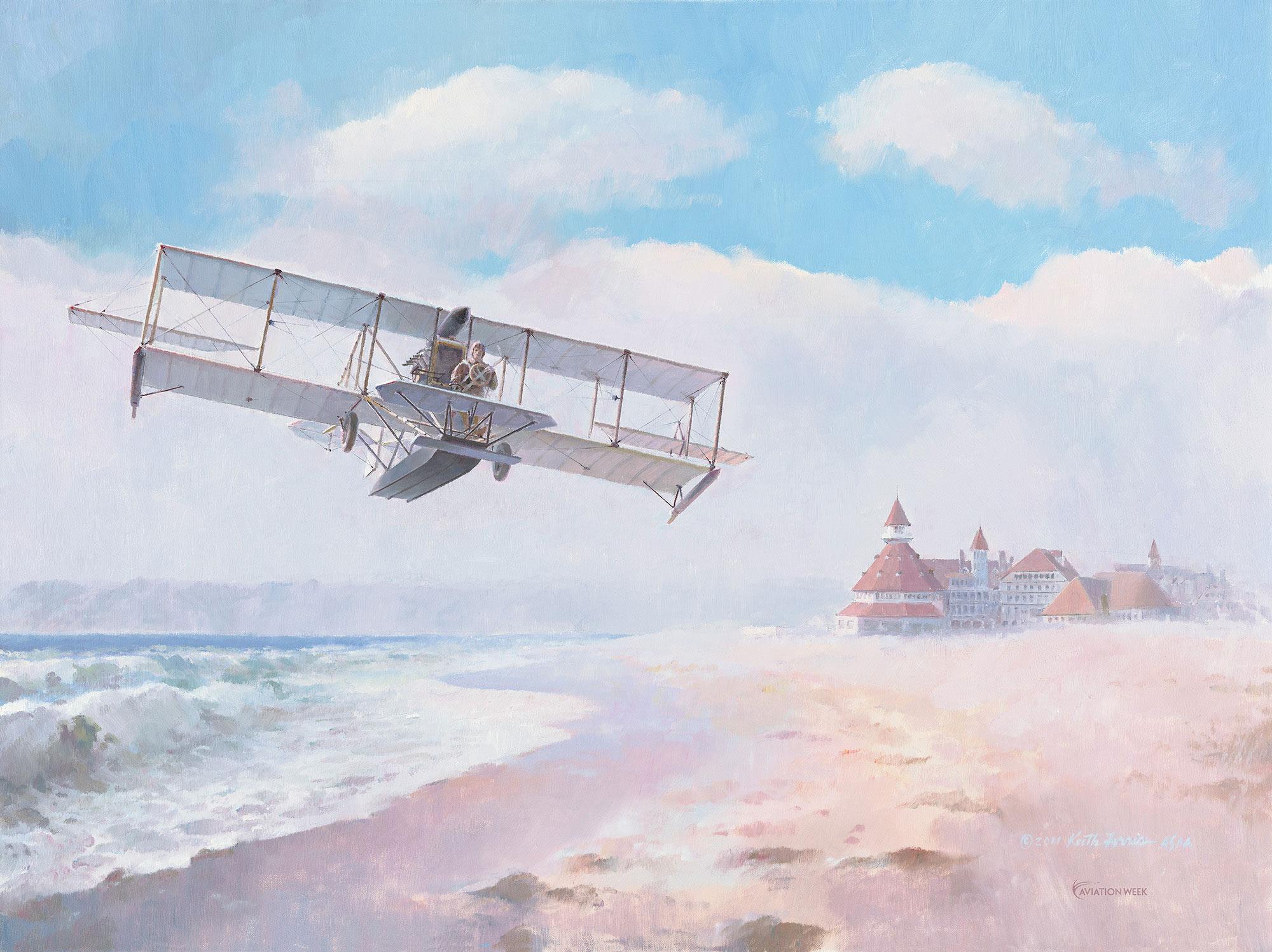 Navair Rising, Curtiss A-1 First Seaplane, Naval AVIATOR #1 Spuds Ellyson, Hotel Del Coronado, San Diego, CA. Naval Aviation 100th Anniversary, A-1 Giclee Print