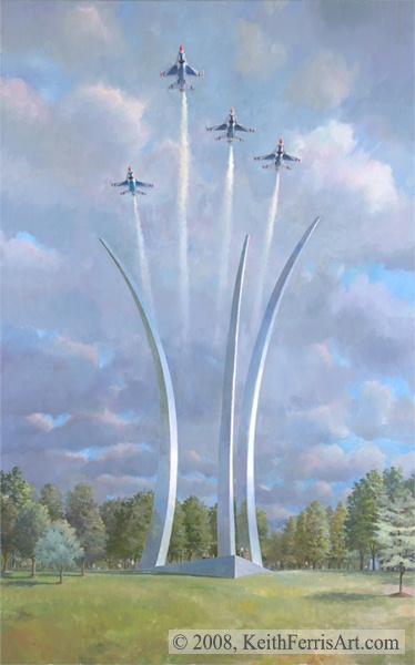 """The Air Force Memorial Artist Proof Only Retail Sales Only F-16s and Memorial A flight of four in the missing man formation flies above the Air Force Memorial in Honor of Air Force or its Predecessor Services personnel missing of deceased. """"Air Force Memorial"""", F-16 Missing Man Formation, Site overlooks the Pentagon, Sponsored by the Air Force Foundation, Ross Perot, Jr. patriot, Memorial lithographic print"""