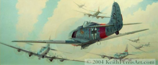 """A Test Of Courage-Original Painting by Keith Ferris ContactKeith Ferris Galleries Call (973) 539-3363 - for more information. 20"""" x 48"""" Oil on canvas Fw190, B-17s II./JG 300 Fw190A-8/R8 """"Sturmbock"""" duels point blank with gunners of the 303rd Bomb Group B-17s on 15 August 1944."""