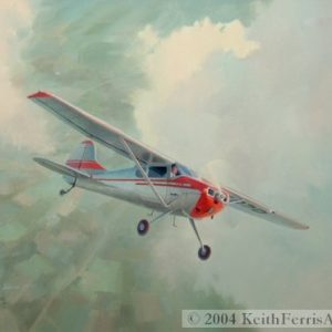 "Cessna 170, Four Seats For All - Original Painting by Keith Ferris Contact Keith Ferris Galleries Call 973.539.3363 for more information. 18"" x 24""  Oil on panel Cessna 170 Cessna's popular four place Cessna 170 entered the business aircraft market in 1948."