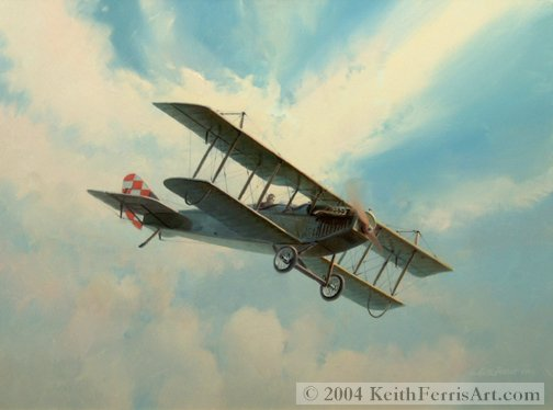 "Curtiss Jenny, America Flew - Original Painting by Keith Ferris  Contact Keith Ferris Galleries  Call 973.539.3363 for more information. 18"" x 24"" Oil on panel Curtiss Jenny JN-4D The Curtiss JN-4D was the major production version of the famous World War I Jenny trainer."