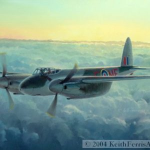 "De Havilland Mosquito - Original Painting by Keith Ferris Contact Keith Ferris Galleries Call 973.539.3363 for more information. 18"" x 24""  Oil on panel Mosquito This British all wood Mosquito was the most versatile operational aircraft of WWII."