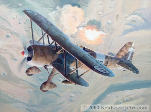 "Fiat C.R. 42  - Original Painting by Keith Ferris Contact Keith Ferris Galleries Call 973.539.3363  for more information. 18"" x 24"" Oil on board Fiat C.R. 42 In late 1939 the Italian Air Force ordered into production the Fiat C.R. 42."
