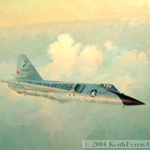 "Fighter Pilot Heaven - Original Painting by Keith Ferris Contact Keith Ferris Galleries Call 973.539.3363 for more information. 24"" x 32"" Oil on board F-106A In the summer of 1959 this F-106A of the 539th Fighter Interceptor Squadron descends at sundown high over New Jersey."