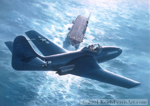 "First Phantom - Original Painting by Keith Ferris  Contact Keith Ferris Galleries  Call 973.539.3363 for more information. 18"" X 24"" Oil on board XFD-1 Phantom I In July 1946 the Phantom I landed aboard and took off from the USS Franklin D. Roosevelt, becoming the first turbine-powered American aircraft to operate successfully from a carrier."