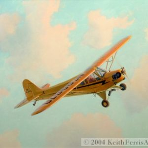 """J-3 Cub, Introduction to Flight-Original Painting by Keith Ferris ContactKeith Ferris Galleries Call 973.539.3363 for more information. 18"""" x 24"""" Oil on panel J-3 Cub Thousands of J-3 Cub aircraft were built by the Piper Aircraft Corporation between 1938 and 1948."""