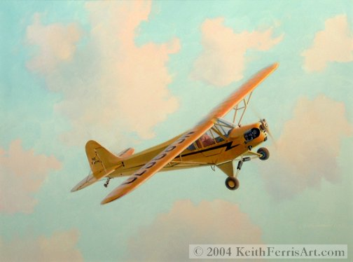 "J-3 Cub, Introduction to Flight - Original Painting by Keith Ferris Contact Keith Ferris Galleries Call 973.539.3363 for more information. 18"" x 24""  Oil on panel J-3 Cub Thousands of J-3 Cub aircraft were built by the Piper Aircraft Corporation between 1938 and 1948."