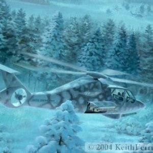 """LHX helicopter - Original Painting by Keith Ferris ContactKeith Ferris Galleries Call 973.539.3363 for more information. 28"""" x 32"""" Oil on board LHX Helicopter The LHX became the Army's Comanche Helicopter program, which after years of development was cancelled in 2004."""