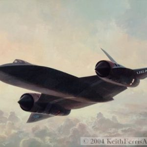 "Lockheed SR-71 Blackbird - Original Painting by Keith Ferris Contact Keith Ferris Galleries  Call 973.539.3363 for more information. 18"" x 24"" Oil on board SR-71 First flown on 22 December 1964 it was designed at Lockheed's Advanced Development Projects, the ""Skunk Works""."