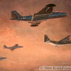 """Night Intruders- Original Painting by Keith Ferris ContactKeith Ferris Galleries Call 973.539.3363 for more information. 24"""" x 32"""" Oil on board C-130, B-57Bs, EF-10B"""