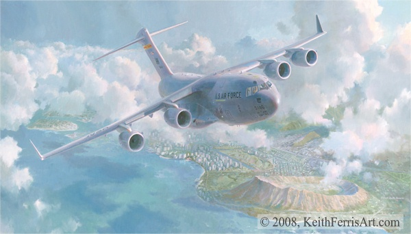 "Waikiki Sunrise, Lithographic print, 18 ¼"" x 28"" Artist Proofs only  Signed and numbered by the artist C-17 over Waikiki Beach, Honolulu, Hawaii C-17 Globemaster III, 05-5146 ""SPIRIT OF HAWAII-KE ALOHA"" passes over Waikiki Beach and Diamond Head on an early morning takeoff out of Hickam AFB, Hawaii"